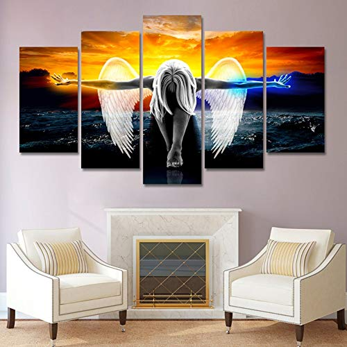 (SFXYJ HD Print 5 Piece Canvas Wall Art, Angel with Wings, Painting Anime Home Decor Print Poster Picture,A,20×30×220×40x220x50×1)