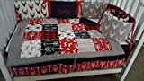 Woodland 1 to 4 Piece baby boy nursery crib bedding Quilt, bumper, and bed skirt, Buck, deer, fawn, head silhouette, Arrow, Teepee, Aztec Gray, black, red, black, and white