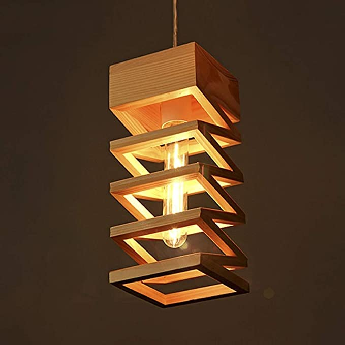 Creativo moderno Bar Restaurante Araña de madera nórdica E27 Hueco Colgante Luz Contador Pasillo Estudio Entrada Lámpara de techo Escaleras Iluminación decorativa Luz colgante: Amazon.es: Iluminación