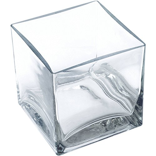 (Clear Square Glass Vase Size 5x5x5 Inches Votive Floating Candle Holder and Floral Centerpiece - Case of 12)