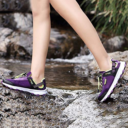 GIY Anti Slip Shoes Women's Climbing Purple Outdoor Hiking Running Shoes Lightweight Trail Casual green Hiker Mesh rqrxwvA