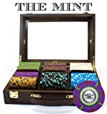 300Ct 13.5g 'The Mint' Poker Chip Set in Wooden Walnut Case by Claysmith Gaming