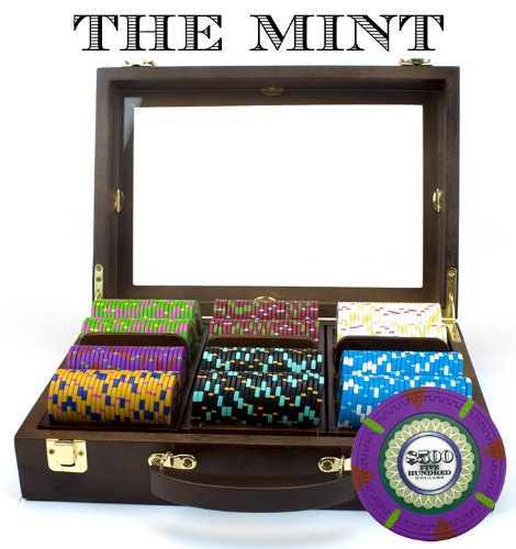 300Ct 13.5g 'The Mint' Poker Chip Set in Wooden Walnut Case by Claysmith Gaming by Claysmith Gaming