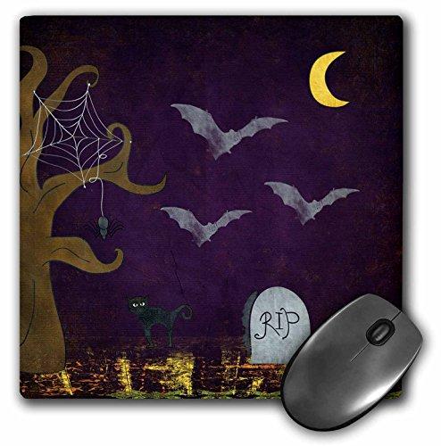 3dRose Beverly Turner Halloween Design - Graveyard Scene, Spider, Web, Gravestone, Moon, Black Cat - Mousepad (mp_220583_1) -