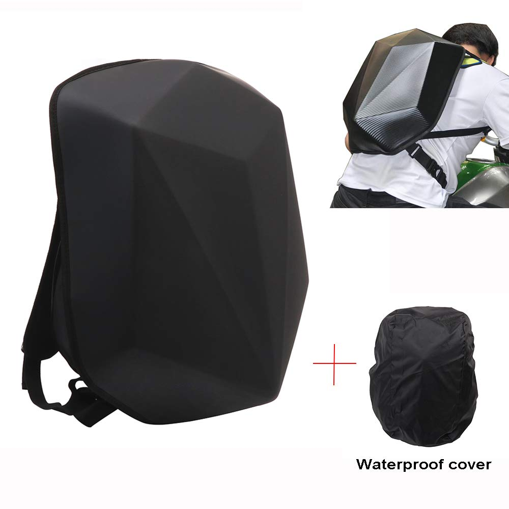 Motorcycle Backpack Hard Shell Backpack - Diamond Shape Riding Backpack Motorcycle Waterproof 30L Large Capacity - Perfect For Riding Travelling Camping Cycling Storage Bag