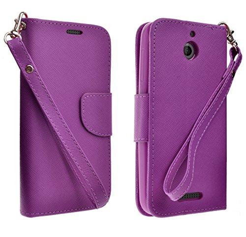 HTC Desire 510 Case, Purple Protective Wallet Cover (Purple Wallet Pouch)