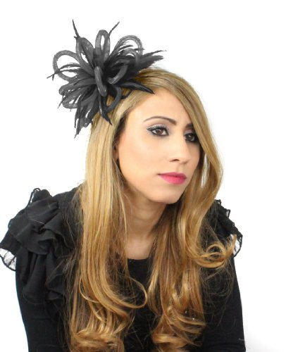 Mini Crin Feather Fascinator - Black by Hats By Cressida