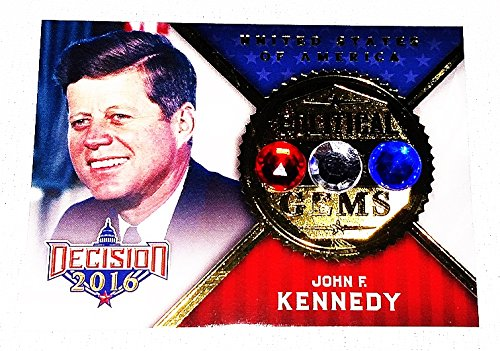 John F. Kennedy 2016 Leaf Decision (Series 2) POLITICAL GEMS Rare Gold Parallel Insert Relic Presidential Politics JFK Collectible Trading Card from Trackside Autographs