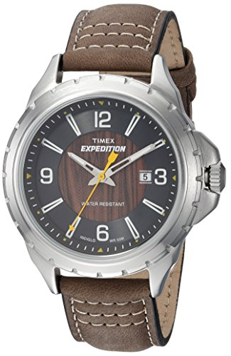 Timex Men's TWH2Z8310 Expedition Rugged Metal Field Brown/Black/Wood Grain Leather Strap Watch
