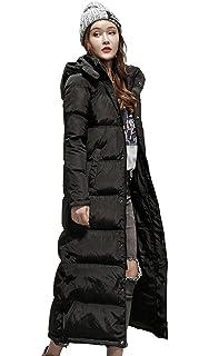 Queenshiny Womens Long Standing Collar Hooded Light Warm Winter White Duck Down Coat Jacket