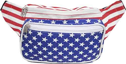 SoJourner Bags USA American Flag Stars and Stripes Fanny Pack (Red, White, Blue) …