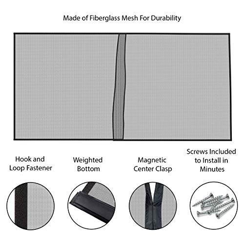 Pure Garden 50-177-2CAR Magnetic Door Screen for Two Car Garage-Heavy Duty Weighted Ga, 202x90 Black