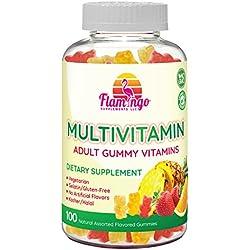 Multi-vitamin Gummies | Vegetarian Kosher Halal NO gluten or gelatin, no GMO| For Men, Women & Kids| 3 Natural Flavors | Vitamins A, C, B3, B12, Biotin, Zinc & More| 100 Gummies