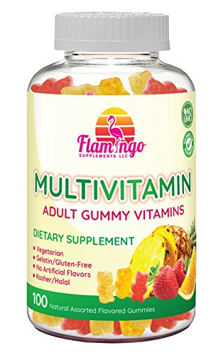 Multi-vitamin Gummies | Vegetarian Kosher Halal NO gluten or gelatin, no GMO| For Men, Women & Kids| 3 Natural Flavors | Vitamins A, C, B3, B12, Biotin, Zinc & More| 100 Gummies