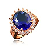 BLOOMCHARM ''My Vow'' 18K Rose Gold Plated Cubic Zirconia Eternity Ring, Gifts for Women Girls (Navy Blue, 7)