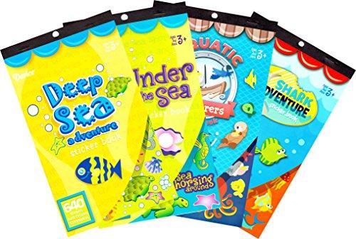 Darice Underwater Adventure Sticker Books for Kids - 4 books 1870 stickers Darice Sticker Book