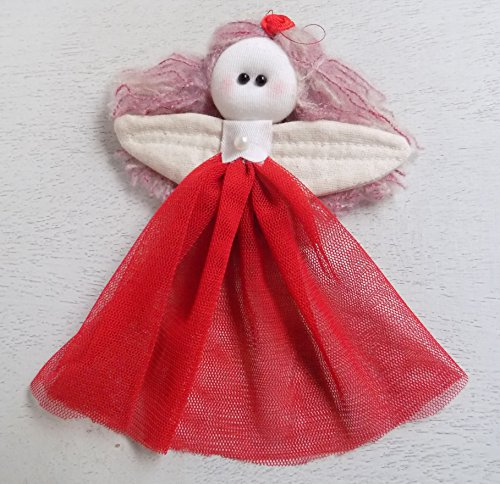 Christmas Ornament Fabric Angel Fairy Cloth Doll Pink Hair Red Dress