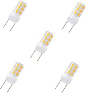 G8 LED Bulbs, 24 X 2835 SMD LED,35W Halogen Replacement Bulb, Dimmable 120V 3.5W Led, G8 Bi-Pin Bulb LED,Warm White 3000K,for Light Fitting, Under Counter Kitchen Lighting (5 Packs)