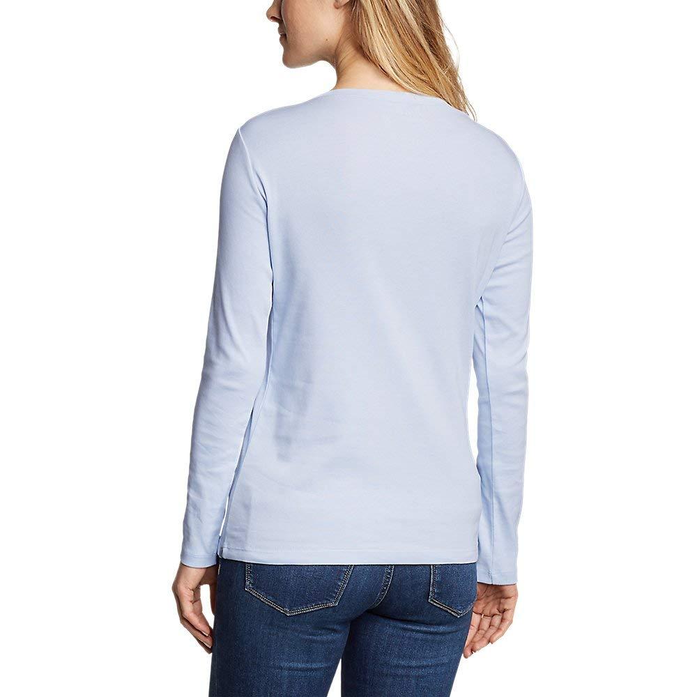 Mist Petite S Petite Eddie Bauer Womens Favorite Long-Sleeve Crewneck T-Shirt