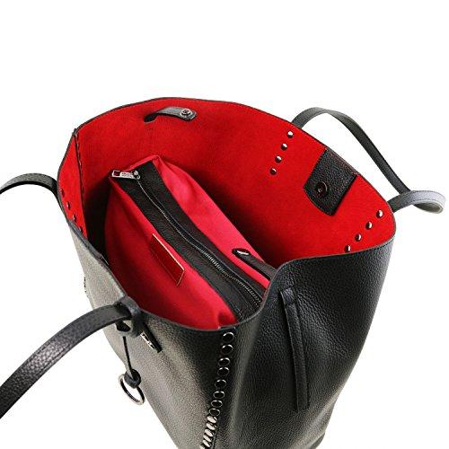 Tuscany Leather TL Bag Bolso Shopping en piel morbida Rojo Bolsos de asa larga Negro