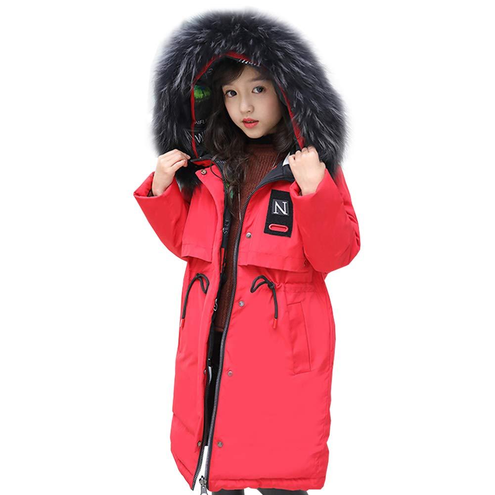 Rouge 11 ans   150 LSERVER Doudoune Fille Manteau d'hiver Enfant Parka Longue Vest Blouson Capuche Fausse Fourrure Chaud