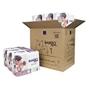 Bambo Nature Premium Baby Diapers, Size 1 (4-11 lbs), 168 Count (6 Packs of 28)