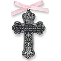 4 Pewter Baptism Bless The Child Guardian Angel Cross Crib Medal for Girl