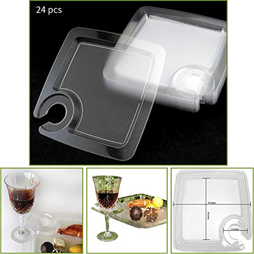 "JCHB 9"" 24pc Clear Stemware Glass Holder Plates for Cocktail, Wine Tasting, Dinner, Appetizer, Dessert, Food Buffet, Washable Party Plates"