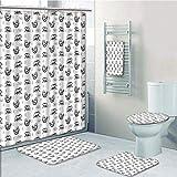 Bathroom 5 Piece Set shower curtain 3d print Multi Style,Yoga,Bears with Various Meditation Poses Monochrome Asian Culture Inspirations Posture Decorative,Black White,Bath Mat,Bathroom Carpet Rug,Non-