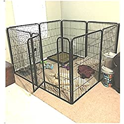 Extra Large Exercise Pen Heavy Duty 40-inch Door Big Dog Black Large Pet 8 Panels Kennel Playpen & eBook OISTRIA