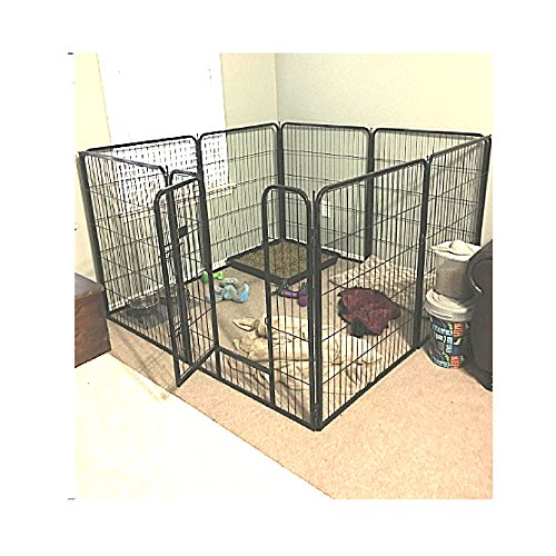 Akc Dog Kennel - Extra Large Exercise Pen Heavy Duty 40-inch Door Big Dog Black Large Pet 8 Panels Kennel Playpen & eBook OISTRIA