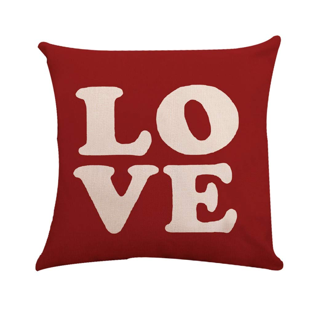 Sikye Happy Valentine's Day Love Print Pillow Case Sweet Flax Removable Pillowslip Cushion Cover for Home Living Room Decor (A)