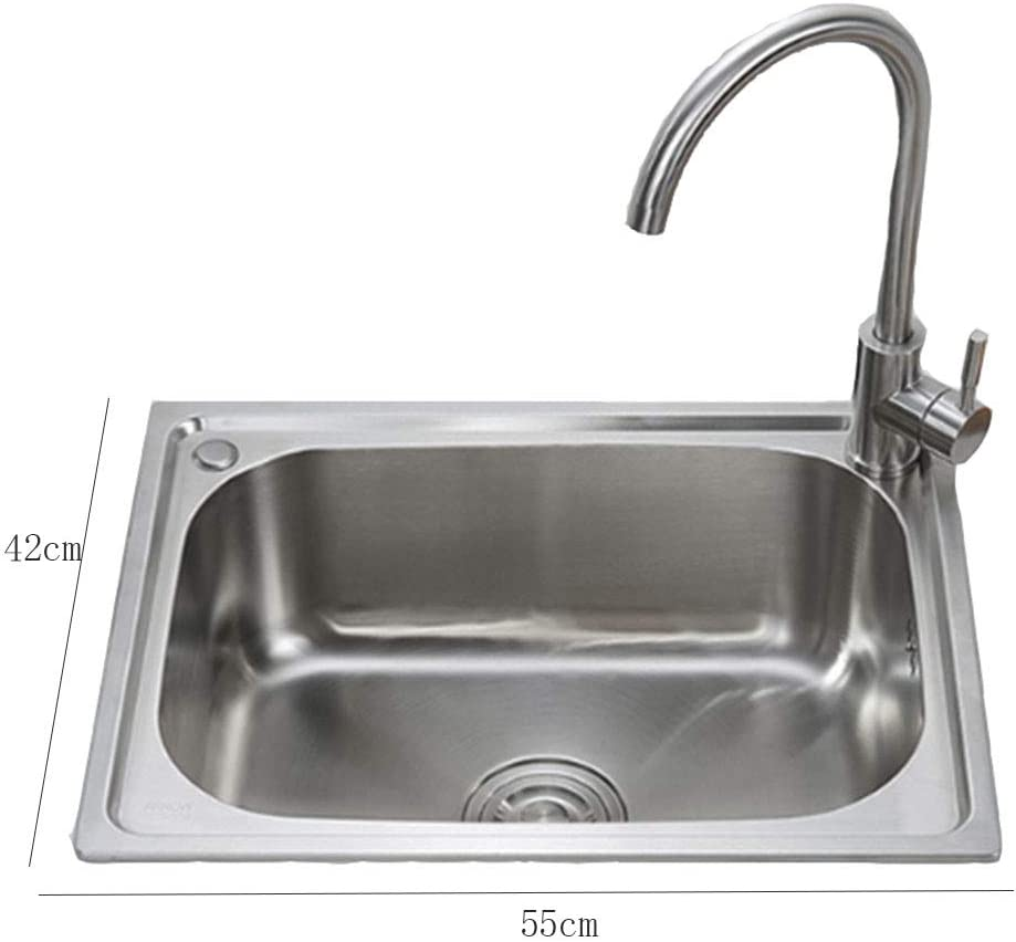 Amazon Com Single Bowl Kitchen Sinks Kitchen Sinks Reversible Inset Kitchen Sink Stainless Steel Sink Kitchen Sink Waste Kit Gift Faucet Size B 554221 5cm Home Kitchen