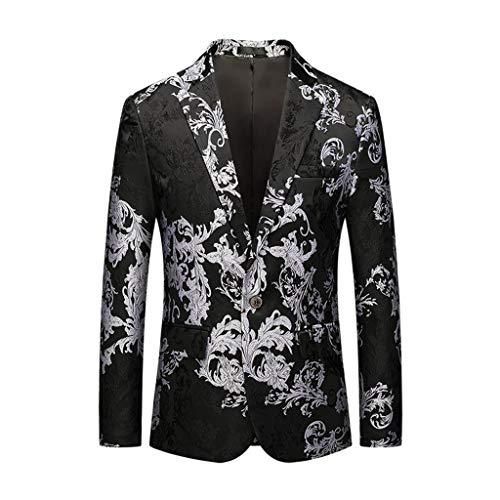 Men's Casual Vintage Turn-Down Collar Long Sleeve Print Floral Suit Coat