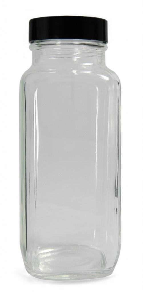 Qorpak GLC-01293 Clear Glass French Square Bottle with 28-400 Black Phenolic Polyseal Cone Lined Cap, 37mm OD x 86mm Height, 2oz Capacity (Case of 48)
