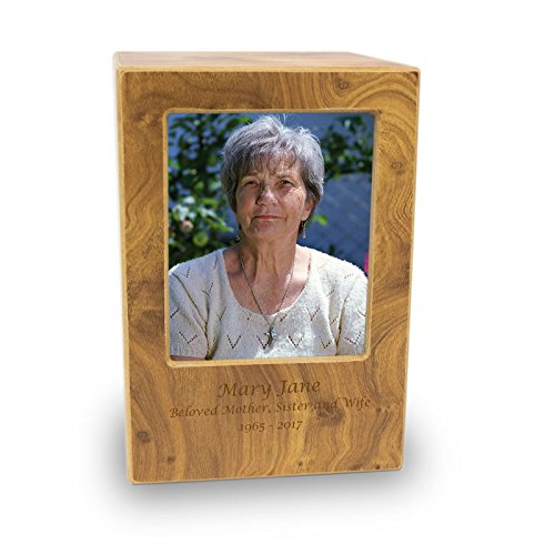 Photo Frame Wood Memorial Urns - Large - Holds Up To 200 Cubic Inches of Ashes - Brown Cremation Urns for Human Ashes - Custom Engraving (Ash Frame)