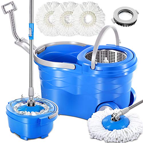 Spin Mop with Stainless Steel Bucket System & 3PCS Microfiber Mop Heads &1 Brush Head Masthome 360 Deluxe Magic Spinning Mop on Wheels
