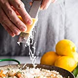 Aeaker Citrus Lemon Zester & Cheese Grater - Parmesan Cheese, Lemon, Ginger, Garlic, Nutmeg, Chocolate, Vegetables, Fruits - Razor-Sharp Stainless Steel Blade Cleaning Brush Dishwasher Safe (Red)
