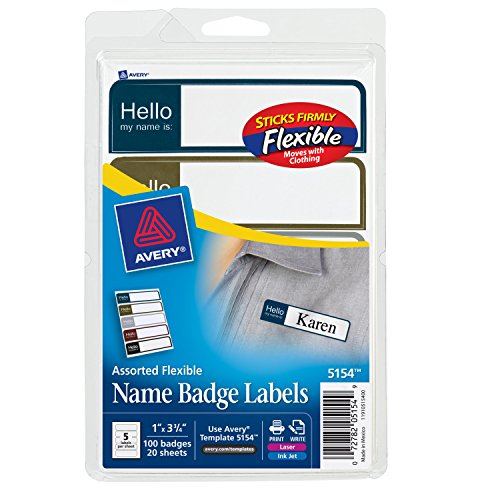 (Avery Flexible Name Badge Labels, Assorted Colors, 1 x 3-3/4, Pack of 100 (5154) )