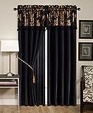 Chezmoi Collection Royale 4-Piece Jacquard Floral Window Curtain/Drape Set Sheer Backing Tassels Valance, Black/Gold