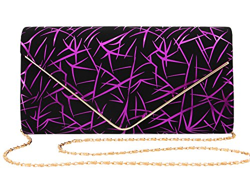 Gabrine Womens Evening Envelop Shoulder Bag Handbag Clutch Purse Velvet Shiny Lines for Wedding Prom Party(Purple) by Gabrine