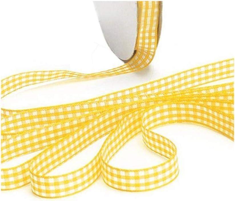 10mm de Large Artisanat de Couture de Ruban Vichy Aofocy Ruban Vichy de qualit/é sup/érieure 45m de Longueur Totale Jaune d/écoup/é /à la Main
