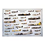 World War II Military Aircraft Educational Chart Poster - 24x36 Collections Poster Print, 39x27