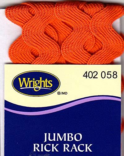 "WRIGHTS CARROT (ORANGE) (058) JUMBO RICK RACK-2 1/2 YARDS (5/8"" WIDE) TRIM"