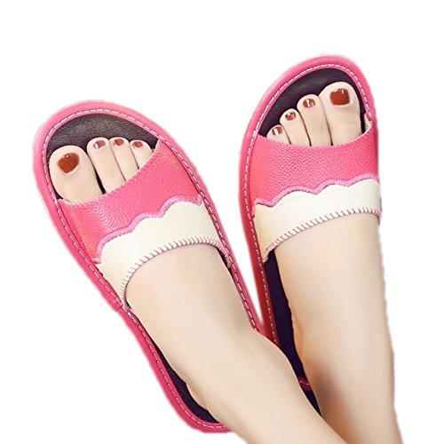 de Zapatillas Parejas Cuero Frescas casa de de Antideslizante Zapatillas Vaca Rosa Piel TELLW casa Verano Interior Mujer 0w5dqUw