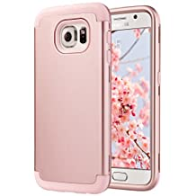 Galaxy S6 Case, S6 Case, ULAK Shock Resistant Hybrid Soft Silicone Hard PC Cover Case for Samsung Galaxy S6, [Will NOT Fit S6 Active] (Rose Gold)