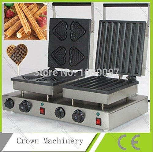 Double heads heart Best waffle maker & Electric automatic Spain churros machine for sale by ANGELGARDEN