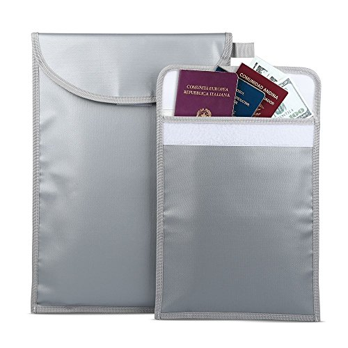 Fireproof Document Bags,Large & Small Water Fire Resistant Bag Set for Documents,Money, Jewelry and Passport - Waterproof Dual Layer Non-Itchy Silicone Coated Fiberglass by Senignol