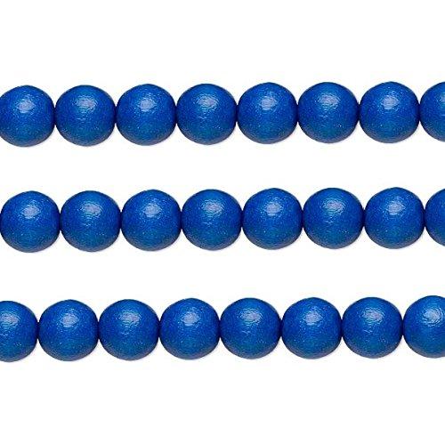 Wood Round Beads Dark Blue 12mm 16 Inch Strand
