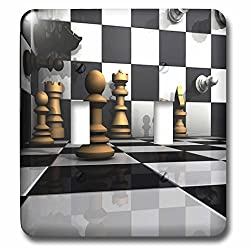3dRose Sven Herkenrath Hobby Chess - 3D Chess Board Visualization Hobbies Sports Chess - Light Switch Covers - double toggle switch (lsp_262480_2)